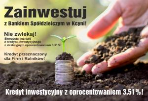Kredyt inwestycyjny z oprocentowaniem 3,51% !!!